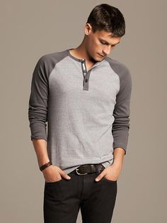 Banana Republic Colorblock Raglan Henley - Dark Charcoal $49.50 - Buy it here: https://www.lookmazing.com/banana-republic-colorblock-raglan-henley-dark-charcoal/products/8176213?e=1&shrid=314_pin
