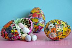 We had a plastic Easter Egg Craft to figure out and decided to make these cute decoupage Easter Eggs from a plastic egg. Alternatively, do use a real egg!