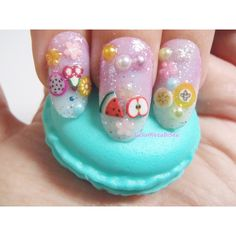 3d fruity fake nails press on false nail art fruit cute kei pop japan... ($17) ❤ liked on Polyvore featuring beauty products, nail care and nail treatments