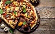Πίτσα με ντοματίνια, μανιτάρια και ελιές Vegetable Pizza, Vegetables, Food, Essen, Vegetable Recipes, Meals, Yemek, Veggies, Eten