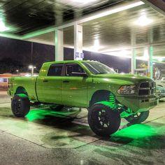 Dodge Jacked Up lime green & neon Pickup Trucks, Jacked Up Trucks, Ram Trucks, Dodge Trucks, Cool Trucks, Truck Memes, Car Jokes, Lowered Trucks, Lifted Dodge