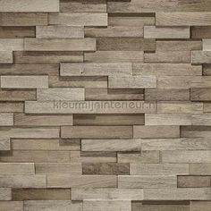 - Non-Woven Wallpaper with wooden design in brown of the collection Facade by GranDeco. Into The Woods, Bauhaus, Wallpaper Online, Brickwork, Designer Wallpaper, Wood Design, Brown And Grey, Facade, Hardwood Floors
