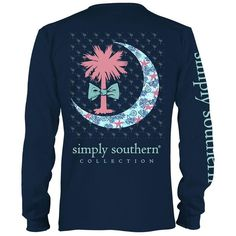 Simply Southern Prep Palmetto Moon Longsleeve T-shirt ($22) ❤ liked on Polyvore featuring tops, t-shirts, tops/outerwear, long sleeve tops, logo t shirts, long sleeve cotton tees, preppy t shirts and blue long sleeve t shirt