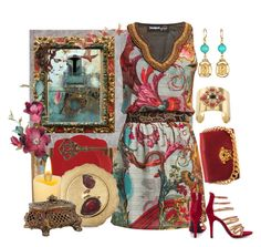 GoForBaroque by agolm on Polyvore featuring polyvore, fashion, style, Desigual, Penny Sue, Versace, House of Harlow 1960, Oscar de la Renta, Jaipur Living, Sur La Table, Sterling, Wedgwood, Gerson, WALL and clothing