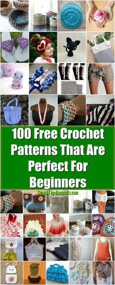 100 Free Crochet Patterns That Are Perfect For Beginners - Really easy patterns doable by anyone, curated and created by diyncrafts.com team! <3 via @vanessacrafting