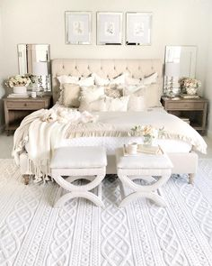 Shabby Chic Bedroom Furniture – 3 Pieces of White Shabby Chic Furniture to Transform Your Bedroom Master Bedroom Design, Home Decor Bedroom, Master Bedroom Furniture Ideas, Taupe Bedroom, Feminine Bedroom, Neutral Bedrooms, Beds Master Bedroom, Luxurious Bedrooms, French Bedroom Decor