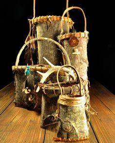 Appalachian Cherokee Poplar Bark baskets by Mark Hendry & Jo Anna Belmont for Organic Artist Tree in Blue Ridge, GA 30513