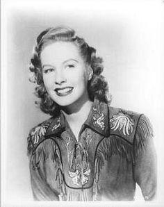Penny Edwards wearing a fringed leather shirt, 1940s