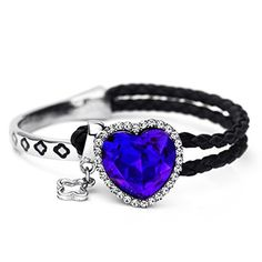 Neoglory Platinum Plated Clear Crystal Leather Rope Ocean Heart Bangles Bracelets by neoglory -- Awesome products selected by Anna Churchill