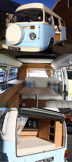 Der VW T2 Bay Window von 1973 – ein Oldtimertraum in hellblau #vw #vwbus…