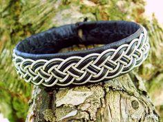 FREKE Swedish Sami Bracelet - Tribal Viking Jewelry in Black Reindeer Leather with Braided Spun Pewter and Antler Button - Custom Made