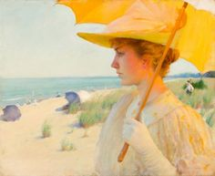 """American Impressionist Artist: Charles Courtney Curran, (1861-1942), """"On the Shore of Lake Erie"""", c.1893. ~ {cwl} ~ (Image: Caldwell Gallery Hudson)"""