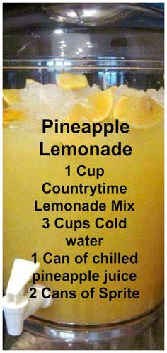 cool Pineapple Lemonade ~ This punch is delicious! Read More by teboller… cool Pineapple Lemonade ~ This punch is delicious! Read More by teboller … Refreshing Drinks, Yummy Drinks, Healthy Drinks, Yummy Food, Tasty, Delicious Recipes, Fruit Drinks, Smoothie Drinks, Cold Drinks