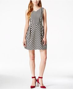 Maison Jules Chevron Fit & Flare Dress, Only at Macy's