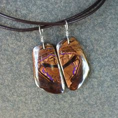 Couple jewelry   two Boulder Opal pendants by NaturesArtMelbourne