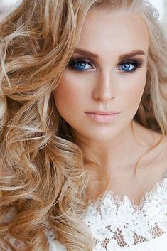 Bridal Makeup For Blondes, Wedding Makeup For Brown Eyes, Wedding Makeup Tips, Wedding Makeup Looks, Makeup For Green Eyes, Blue Eye Makeup, Eye Makeup Tips, Hair Makeup, Hair Wedding