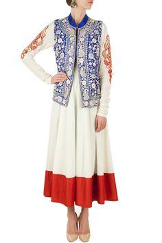 Ivory anarkali with blue embroidered jacket BY SONALI GUPTA. Shop now at perniaspopupshop.com #perniaspopupshop #clothes #womensfashion #love #indiandesigner #sonaligupta #happyshopping #sexy #chic #fabulous #PerniasPopUpShop