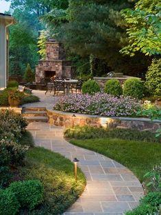 jardin idée aménagement allée de jardin pierre salon de jardin table chaise