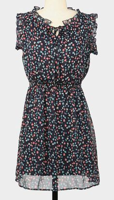 Navy Ditzy Fair Bloom Ruffle Midi Dress