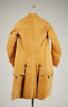 Reverse of Frockcoat with matching yellow silk cuffs, that are detachable and interchangeable with embroidered cuffs that match the embroidered waistcoat (shown in previous pin), ca. 1765, French, silk. (c) Metropolitan Museum of Art