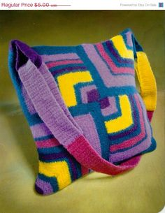 CLEARANCE SALE Magic Miters Felted Tote Crochet Pattern