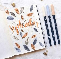 Ideas for your September bullet journal including the best themes, cover page, habit trackers, and more pretty September bujo page ideas. The cleverest bullet journal ideas. Bullet Journal Cover Page, Bullet Journal Aesthetic, Bullet Journal Notebook, Bullet Journal Ideas Pages, Bullet Journal Spread, Journal Covers, Bullet Journal Inspiration, Bullet Journal September Cover, Bullet Journal Leaves
