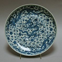 Dish with Dragons and Lotuses China Ming dynasty (1368–1644), Zhengde mark and period (1506–21)