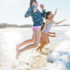 Girls Navy Leaf Long Sleeve Rashie | Sandy Feet Australia