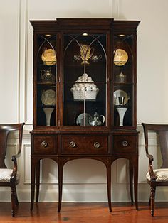 Circa 1920 1940 Duncan Phyfe Style Glass Door Hutch With