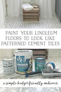 Plum Pretty Decor & Design Co.How to Paint Your Linoleum or Tile Floors to Look Like Patterned Cement Tiles- Full Tutorial — Decor Design, Bathroom Makeover, Pretty Decor, Stenciled Floor, Linoleum Flooring, Cement Tile, Flooring, Room Flooring, Bathroom Flooring