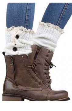 Cute Boot Socks! Pair of Chic Buttons and Lace Embellished Knitted Leg Warmers #Sweet #Boot #Socks #Winter #Holiday #Gift #Ideas #Fashion #Footwear #Accessories