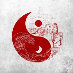 Principle: Balance The Yin Yang represents balance in all things through the water in the red background while the dry desert in the white outline the art Yin Yang Balance, Balance Art, Desert Tattoo, Balance Tattoo, Feng Shui, Yin Yang Art, Harmony Art, Yin Yang Tattoos, Ocean Tattoos