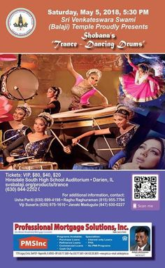 Event: Shobana's Trance-Dancing Drums Time: 5:30 PM Date: Saturday – May 5, 2018 Venue: Hindsdale South High School Auditorium, Darien, ILollege of Lake County, A Wing A011 Auditorium, 19351 West Washington St, Grayslake, IL 60030Tickets: VIP, $80, $40, $20 For more information please, visit: www.svsbalaji.org/products/trance Call Us: (630) 844-2252  Related
