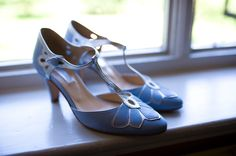 Pastel blue and silver T-bar shoes. Photography by http://rbeaumontphotography.co.uk/