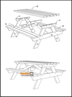 This picnic table measures six feet. Picnic table is constructed with 2×4 and 2×6 lumber. Plans include free PDF download, material list, drawings, and measurements. Diy Picnic Table, Picnic Table Plans, Woodworking, Diy Projects, How To Plan, Tech, Pdf, Free, Furniture