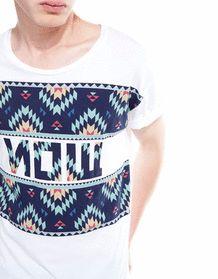 Bershka France -T-shirt imprimé IKAT bi-matière lettres