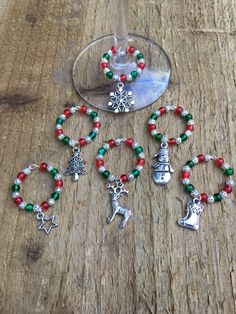 A personal favourite from my Etsy shop https://www.etsy.com/uk/listing/489763463/wine-glass-charms-red-and-green