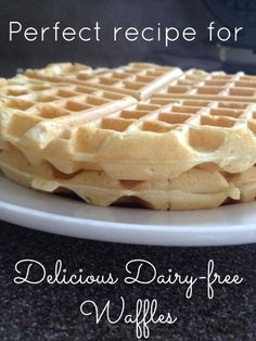 Delicious dairy free waffles: To make GF, sub All Purpose GF flour mix. For half a recipe (makes about 3 waffles), use c. Add last to check consistency of batter because the recommended amount in the recipe left the Lactose Free Diet, Lactose Free Recipes, Dairy Free Foods, Lactose Free Desserts, Dairy Free Recipes For Kids, Dairy Free Baking, Dairy Free Alternatives, Dairy Free Waffles, Waffle Recipes