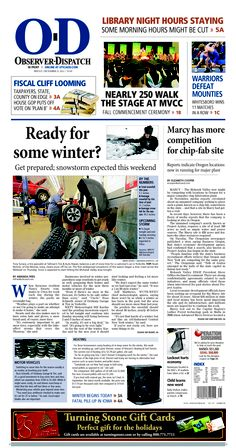 The front page for Friday, Dec. 21, 2012: Ready for some winter?