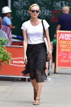 The Takeaway: Pair a flirty skirt with easy flats for the ideal spring ensemble.   - HarpersBAZAAR.com