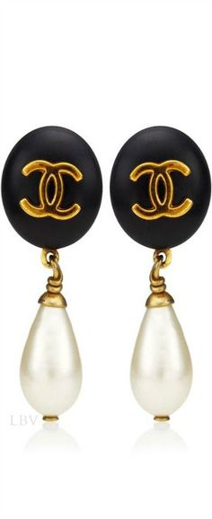 Chanel ♥✤Vintage Black Pearl Drop Earring