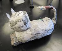 I introduced my 5th graders to Laurel Burch.  They loved her work and were thrilled to be making papier-mache cats (those are my samples-in...