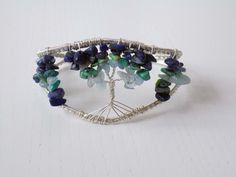 "My ""Tree of life"" wire bracelet with Lapis lazuli, Sodalite, Chrysocolla and Aquamarine beads"