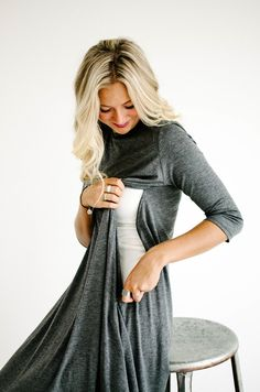 MOM 3/4 Sleeve Easy Dress in Charcoal