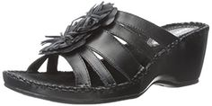 Hush Puppies Women's Gallia Copacabana Wedge Sandal, Black Leather, 10 W US *** Find out more about the great product at the image link.