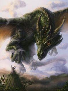 fantasy-creatures: Call To Ancient Gods by ~Lilian-art. My spirit dragon Dragon Vert, Green Dragon, Gold Dragon, Emerald Dragon, Dragon Wing, Big Dragon, Jade Dragon, White Dragon, Fantasy Kunst