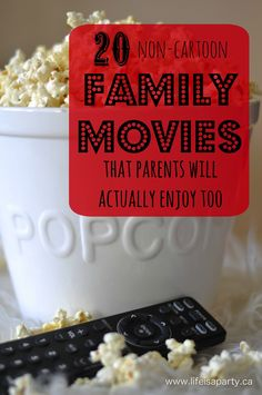 We gotta see the last one! And, I'd like to add Rigoletto to the list. A great list of 20 non-cartoon family movies that you'll actually enjoy watching as much as your kids Top Family Movies, Good Movies To Watch, Family Movie Night, Dc Movies, About Time Movie, Cartoon Family, Family Activities, Summer Fun, Summer Time