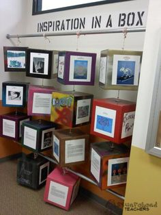 "Here's an ""out of the box"" way to display classroom projects. Have each student decorate one side of a box. Then, assemble the boxes, string rope through them, and hang them on bars attached to the wall."