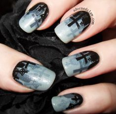 Cute Nail Art Designs for Halloween Acrylic Nails - Halloween Acrylic Nails, Halloween Nail Designs, Acrylic Nail Art, Nail Art Diy, Diy Nails, Cool Nail Art, Gothic Nail Art, Goth Nails, Minion Nails
