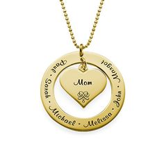 Show Grandma how much you love her with this special grandmother necklace. This beautiful gold plated necklace features an engravable disc and heart charm. This item hangs from a gold plated bead chain. This item is also available in silver, rose gold plating and 10K Solid Gold.